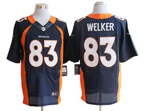Size 60 4XL-Welker Denver Broncos #83 Blue Stitched Nike Elite NFL Jerseys