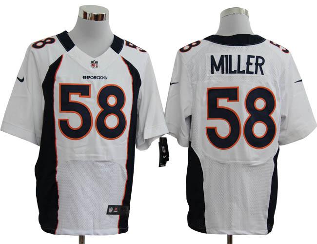 Size 60 4XL-Von Miller Denver Broncos #58 White Stitched Nike Elite NFL Jerseys