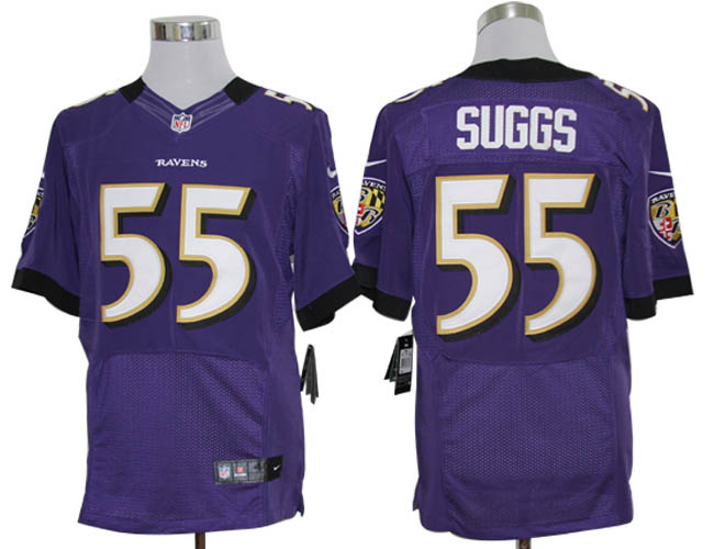 Size 60 4XL-Terrell Suggs Baltimore Ravens #55 Purple Stitched Nike Elite NFL Jerseys