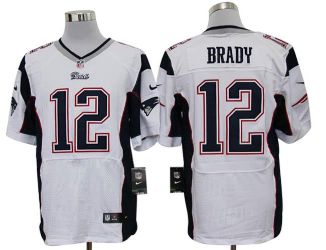 Size 60 4XL-Tom Brady New England Patriots #12 White Stitched Nike Elite NFL Jerseys