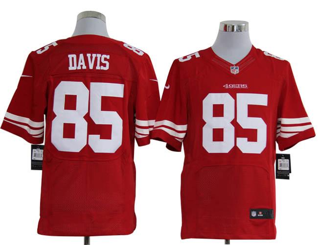Size 60 4XL-Vernon Davis San Francisco 49ers #85 Red Stitched Nike Elite NFL Jerseys