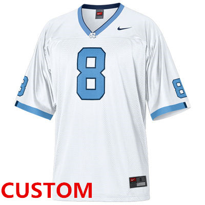 Custom Nike North Carolina Tar Heels (UNC) Football Replica Jersey - White