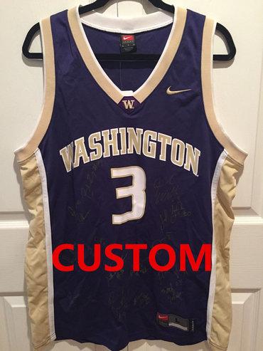 Custom NEW Nike Team Washington Huskies 2005 Team Signed Brandon Roy Jersey