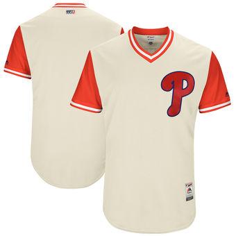 Custom Men's Philadelphia Phillies Majestic Tan 2017 Players Weekend Authentic Team Jersey