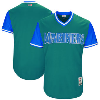 Custom Men's Seattle Mariners Majestic Aqua 2017 Players Weekend Authentic Team Jersey