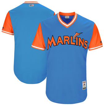 Custom Men's Miami Marlins Majestic Royal 2017 Players Weekend Authentic Team Jersey