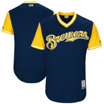 Custom Men's Milwaukee Brewers Majestic Navy 2017 Players Weekend Authentic Team Jersey