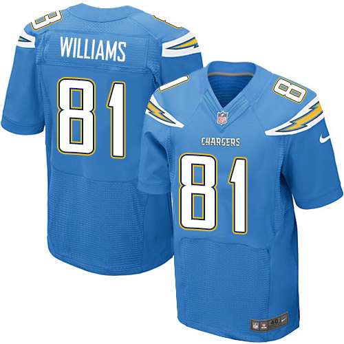 Nike Los Angeles Chargers #81 Mike Williams Electric Blue Alternate Men's Stitched NFL New Elite Jersey