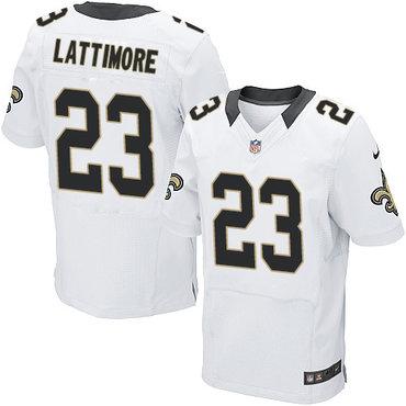 Nike New Orleans Saints #23 Marshon Lattimore White Men's Stitched NFL Elite Jersey