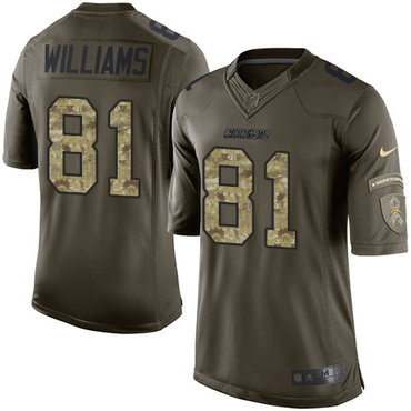 Nike Los Angeles Chargers #81 Mike Williams Green Men's Stitched NFL Limited Salute to Service Jersey