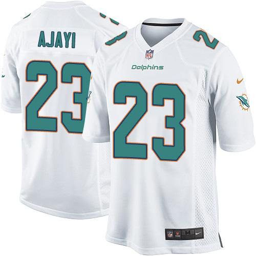 Youth Nike Miami Dolphins #23 Jay Ajayi White  Stitched NFL Elite Jersey