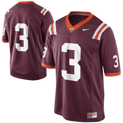 Mens Nike Virginia Tech Hokies #3 Game Football Maroon Jersey