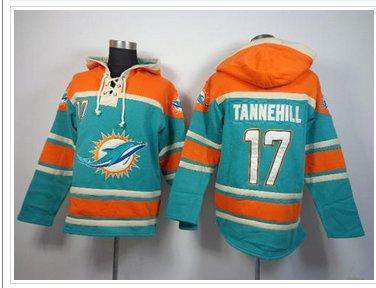 Miami Dolphins #17 Ryan Tannehill Aqua Green Sawyer Hooded Sweatshirt NFL Hoodie