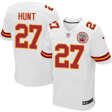 Nike Kansas City Chiefs #27 Kareem Hunt White Men's Stitched NFL Elite Jersey