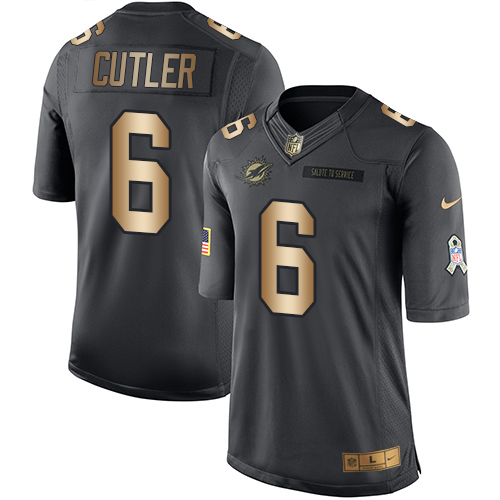 Youth Nike Dolphins #6 Jay Cutler Black Stitched NFL Limited Gold Salute to Service Jersey