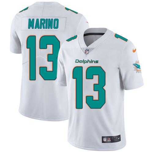Youth Nike Dolphins #13 Dan Marino White Stitched NFL Vapor Untouchable Limited Jersey