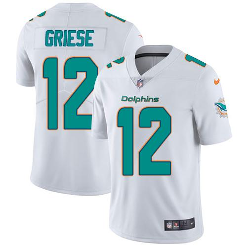 Youth Nike Dolphins #12 Bob Griese White Stitched NFL Vapor Untouchable Limited Jersey