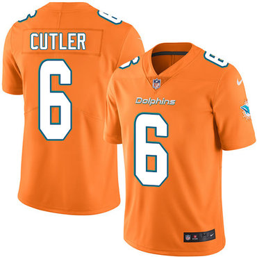 Youth Nike Dolphins #6 Jay Cutler Orange Stitched NFL Limited Rush Jersey