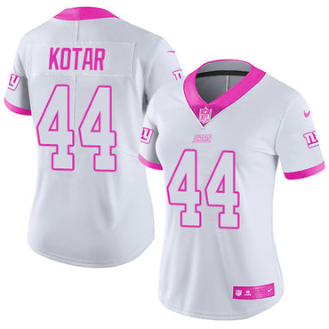 Women's Nike Giants #44 Doug Kotar White Pink Stitched NFL Limited Rush Fashion Jersey