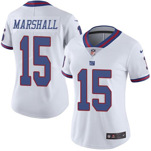 Women's Nike Giants #15 Brandon Marshall White Stitched NFL Limited Rush Jersey