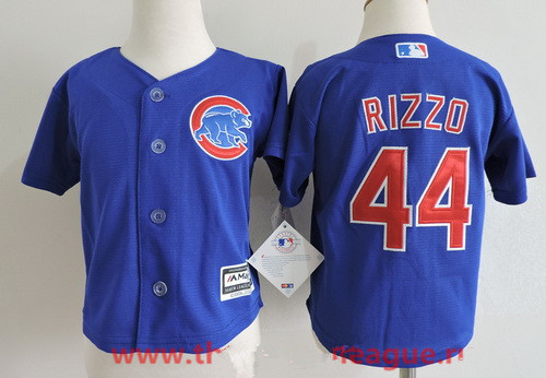 Toddler Chicago Cubs #44 Anthony Rizzo Royal Blue Stitched MLB Majestic Cool Base Jersey