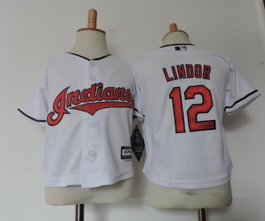 Toddler Cleveland Indians #12 Francisco Lindor White Stitched MLB Majestic Cool Base Jersey
