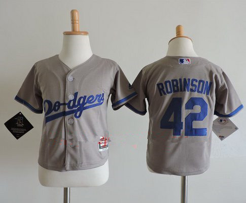 Toddler Los Angeles Dodgers #42 Jackie Robinson Gray Road Stitched MLB Majestic Cool Base Jersey