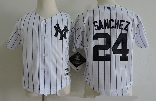 Toddler New York Yankees #24 Gary Sanchez White Home Stitched MLB Majestic Cool Base Jersey