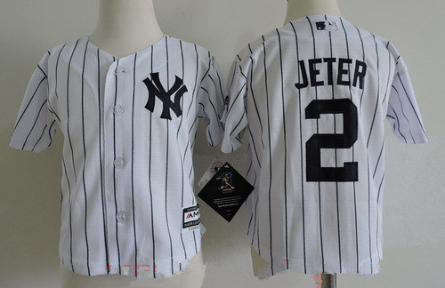 Toddler New York Yankees 2 Derek Jeter White Home Stitched MLB Majestic Cool Base Jersey