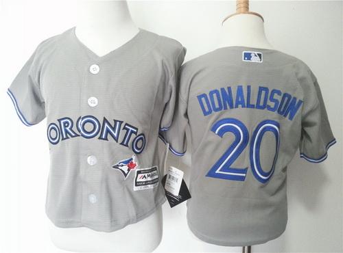 Toddler Toronto Blue Jays #20 Josh Donaldson Gray Road MLB Majestic Baseball Jersey