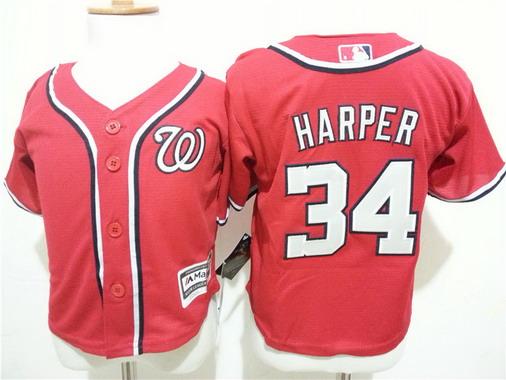 Toddler Washington Nationals #34 Bryce Harper Alternate Red MLB Majestic Baseball Jersey
