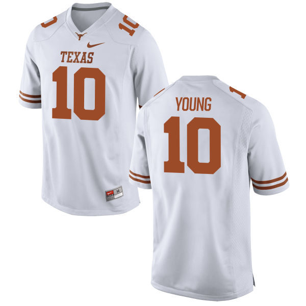 Men's Texas Longhorns 10 Vince Young White Nike College Jersey