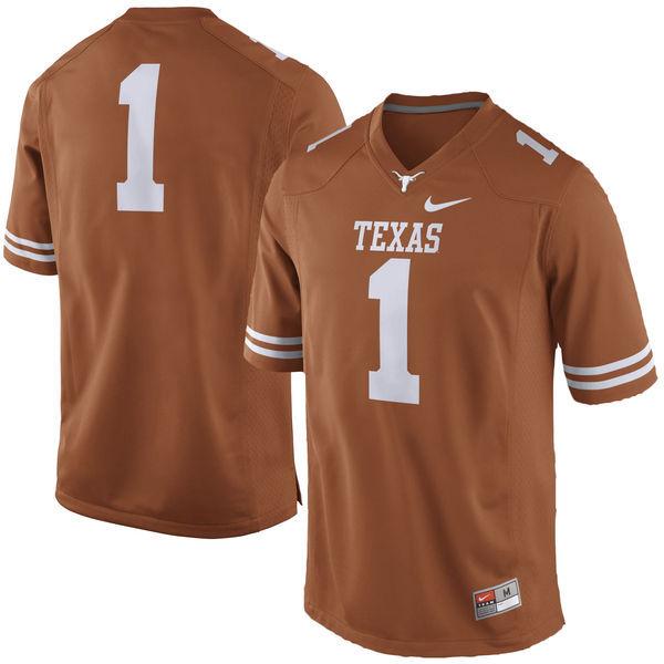 Men's Texas Longhorns 1 Orange Nike College Jersey