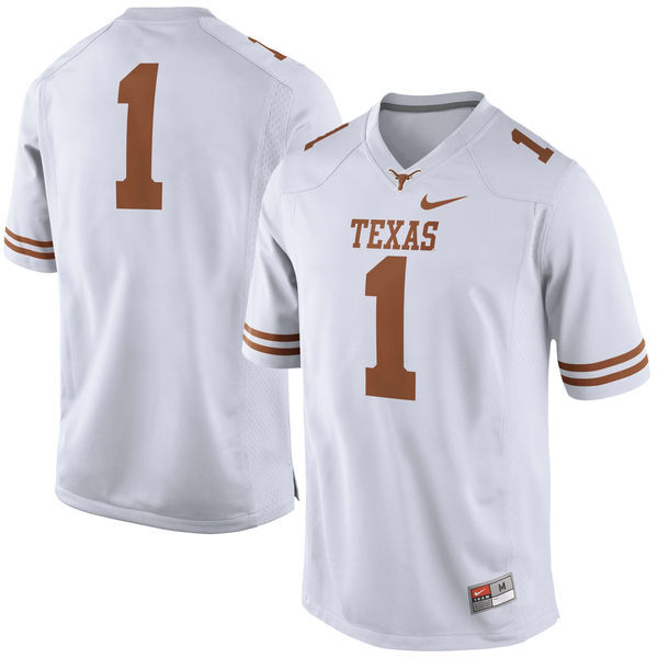 Men's Texas Longhorns 1 White Nike College Jersey