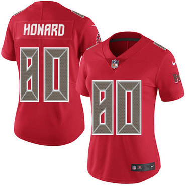 Women's Nike Buccaneers #80 O. J. Howard Red Stitched NFL Limited Rush Jersey