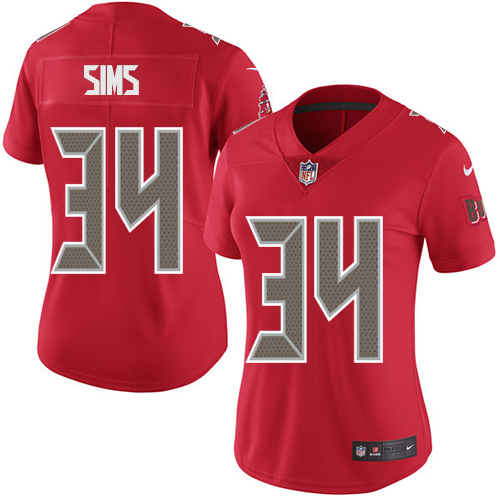 Women's Nike Buccaneers #34 Charles Sims Red Stitched NFL Limited Rush Jersey