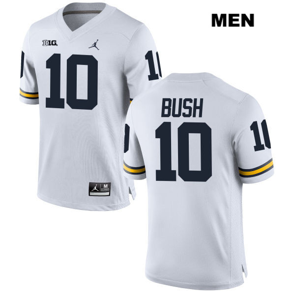 Devin Bush Jordan #10 White Michigan Wolverines Stitched Authentic Mens College Football Jersey