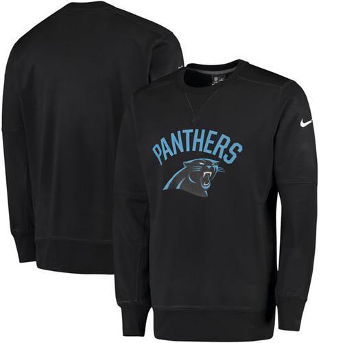Men's Carolina Panthers Nike Black Sideline Circuit Performance Sweatshirt