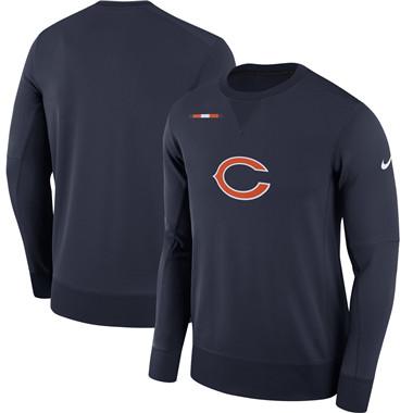 Men's Chicago Bears Nike Navy Sideline Team Logo Performance Sweatshirt