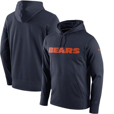 Men's Chicago Bears Nike Navy Performance Circuit Wordmark Essential Pullover Hoodie