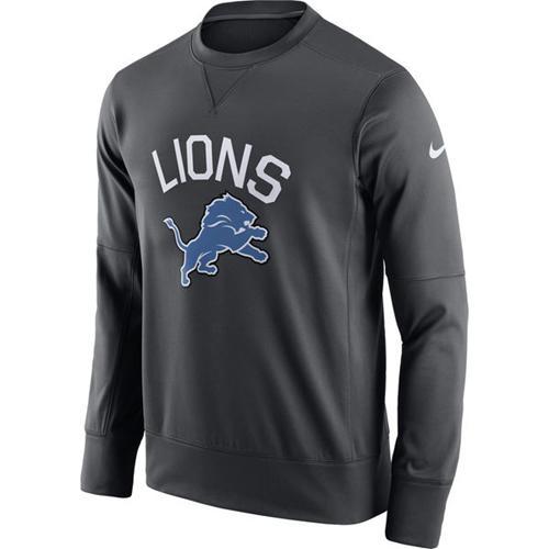 Men's Detroit Lions Nike Anthracite Sideline Circuit Performance Sweatshirt