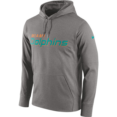 Men's Miami Dolphins Nike Gray Circuit Wordmark Essential Performance Pullover Hoodie