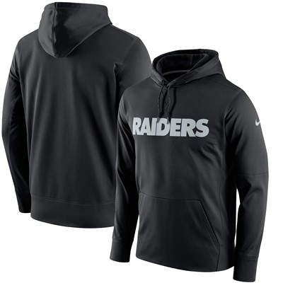Men's Oakland Raiders Nike Black Circuit Wordmark Essential Performance Pullover Hoodie