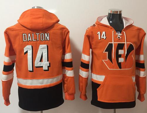 Nike Cincinnati Bengals #14 Andy Dalton Orange Black Name & Number Pullover NFL Hoodie