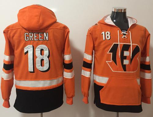 Nike Cincinnati Bengals #18 A.J. Green Orange Black Name & Number Pullover NFL Hoodie