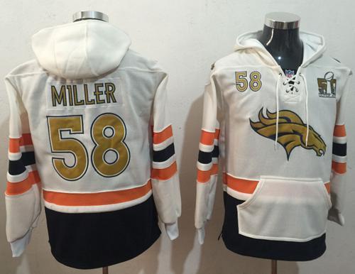 Nike Denver Broncos #58 Von Miller White(Gold No.) Name & Number Pullover NFL Hoodie