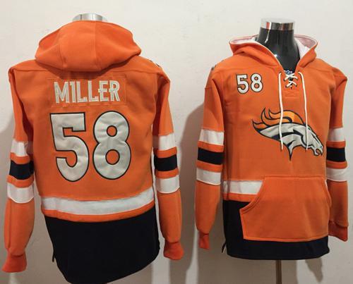 Nike Denver Broncos #58 Von Miller Orange Navy Blue Name & Number Pullover NFL Hoodie