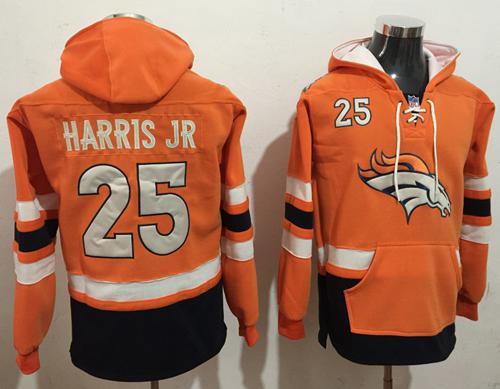 Nike Denver Broncos #25 Chris Harris Jr Orange Navy Blue Name & Number Pullover NFL Hoodie