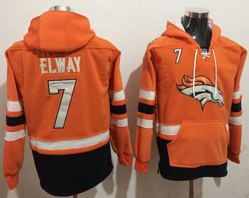 Nike Denver Broncos #7 John Elway Orange Navy Blue Name & Number Pullover NFL Hoodie