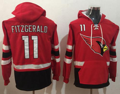 Nike Arizona Cardinals #11 Larry Fitzgerald Red Black Name & Number Pullover NFL Hoodie